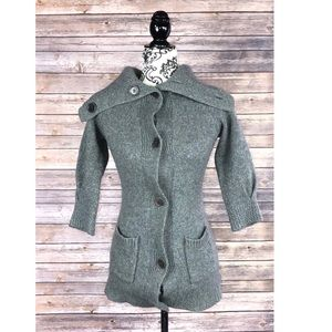 Bcbg mazazria sweater lambs wool small gray button